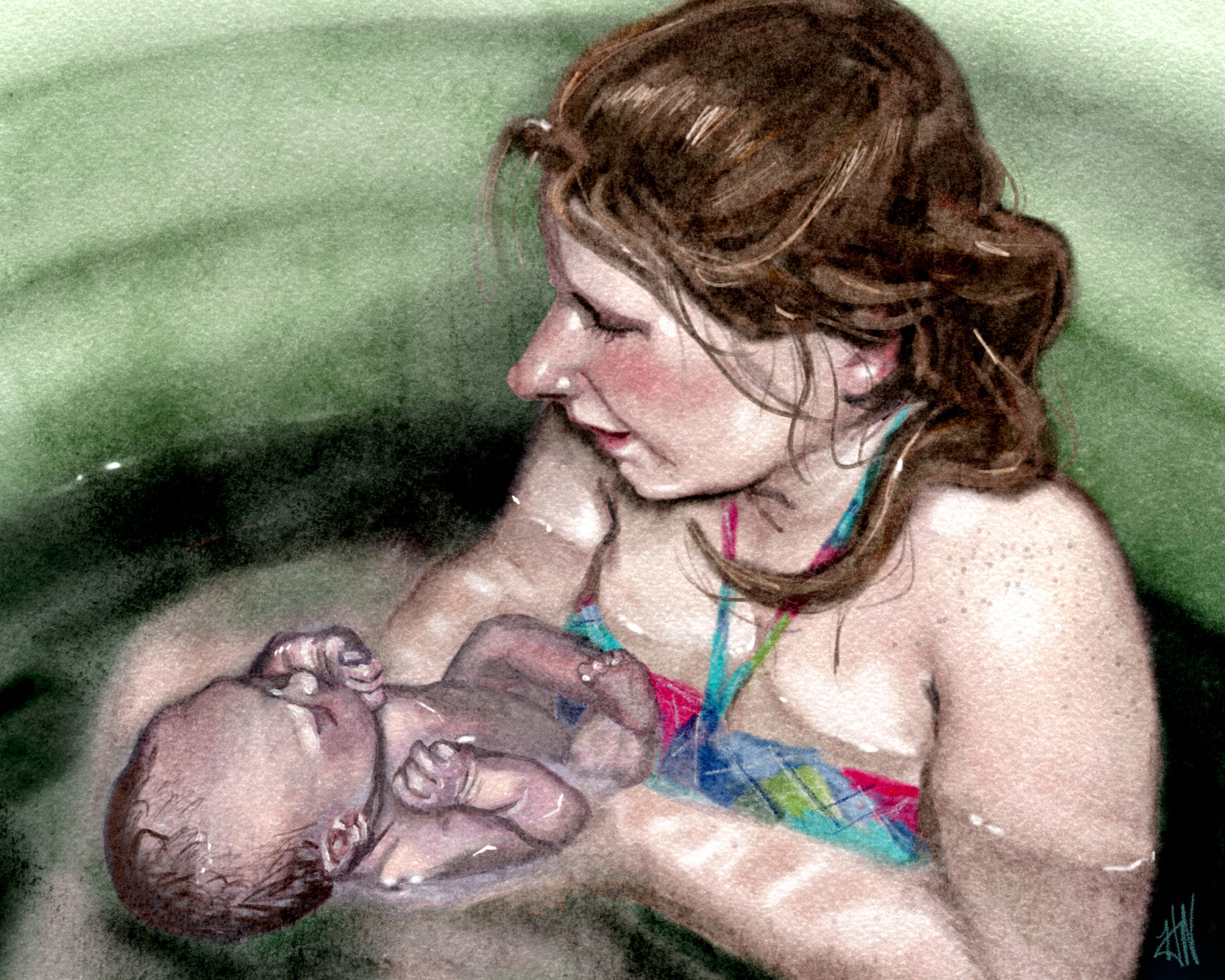 Digital art painting of mother and baby in pool